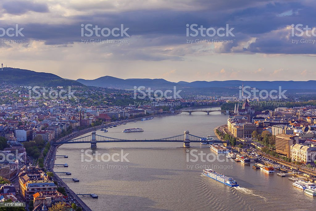 Budapest cityscape at sunset stock photo
