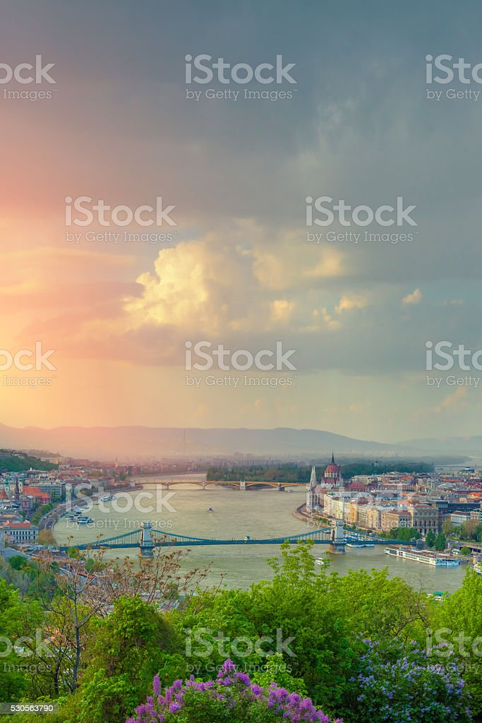 Budapest cityscape: the Danube, Chain Bridge, the Parliament of Hungary stock photo