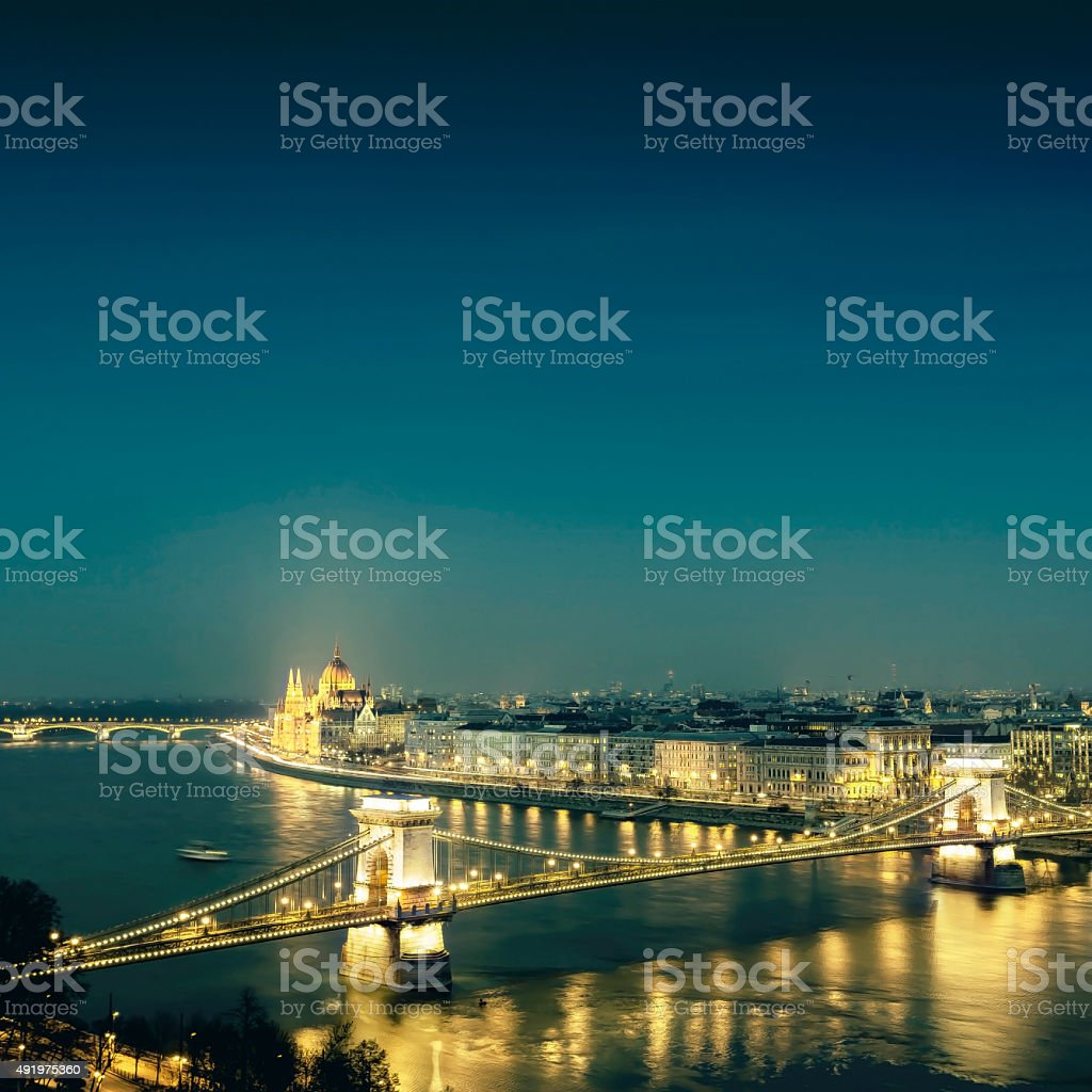 Budapest cityscape with Chain Bridge and Parliament at dusk stock photo