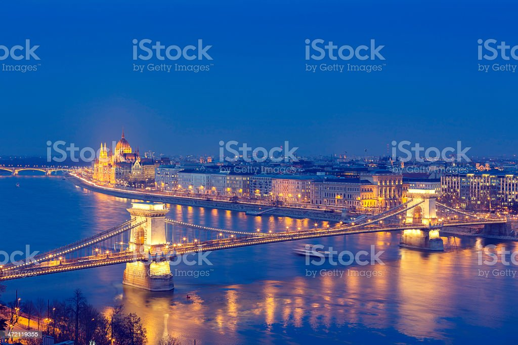 Budapest cityscape with Chain Bridge and Parliament stock photo