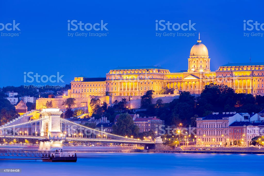 Budapest cityscape with Chain Bridge at night stock photo