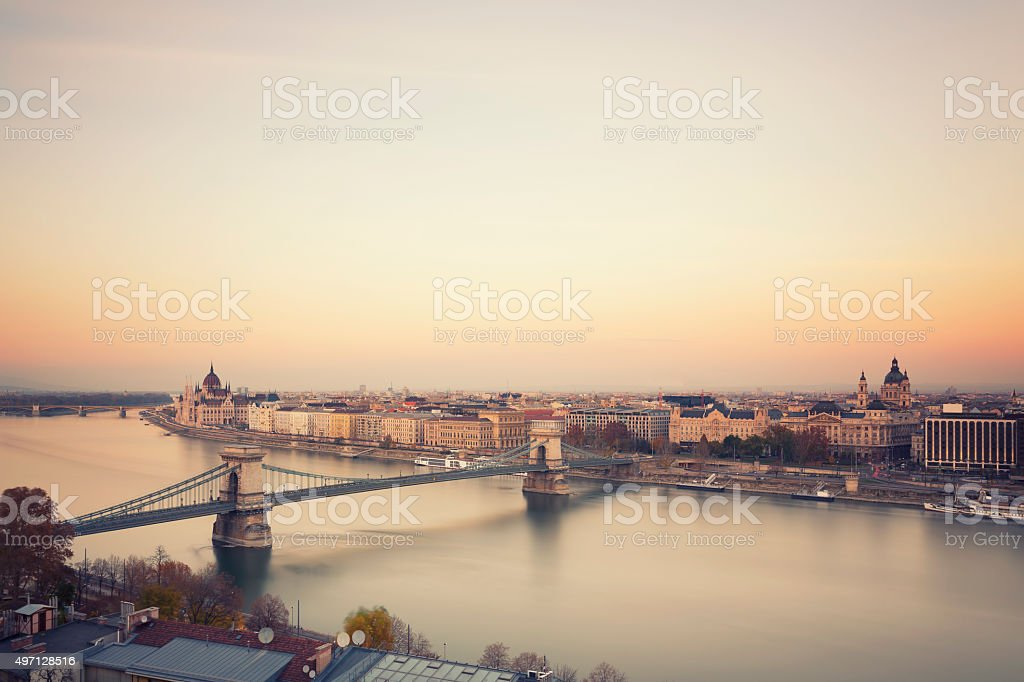Budapest cityscape with Chain Bridge,  St Stephen's Basilica and Parliament stock photo