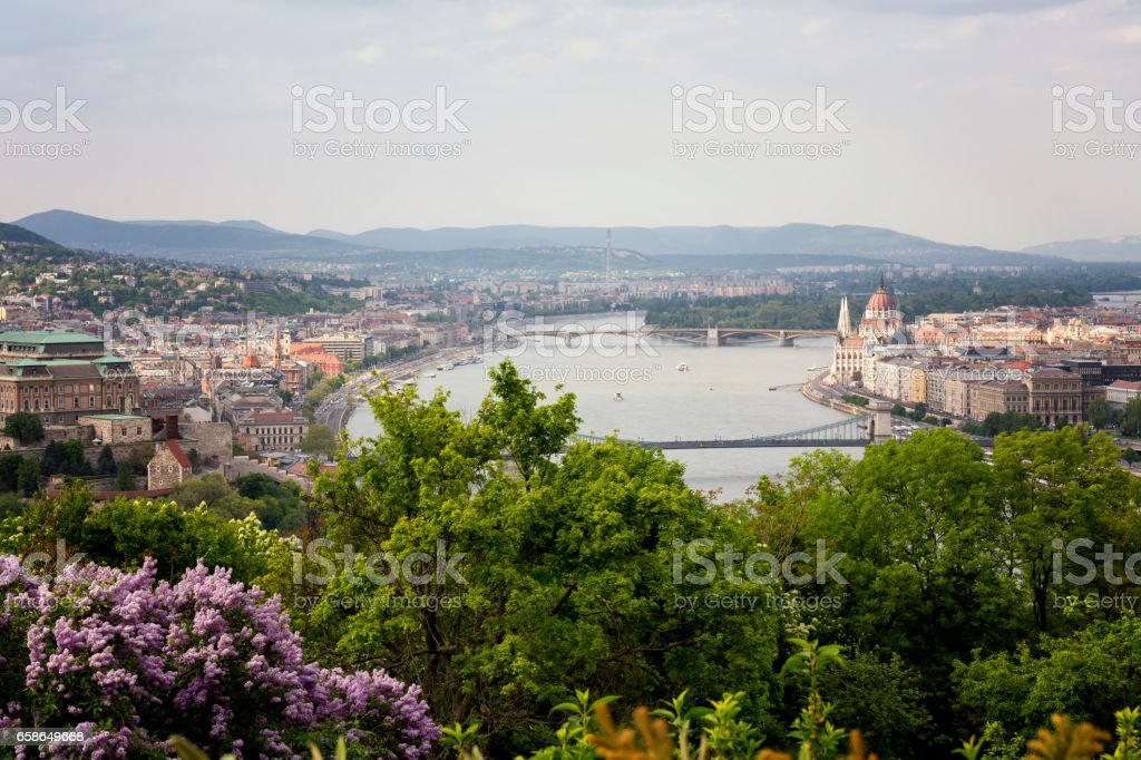 Budapest cityscape with Hungarian Parliament and Szechenyi Chain Bridge stock photo
