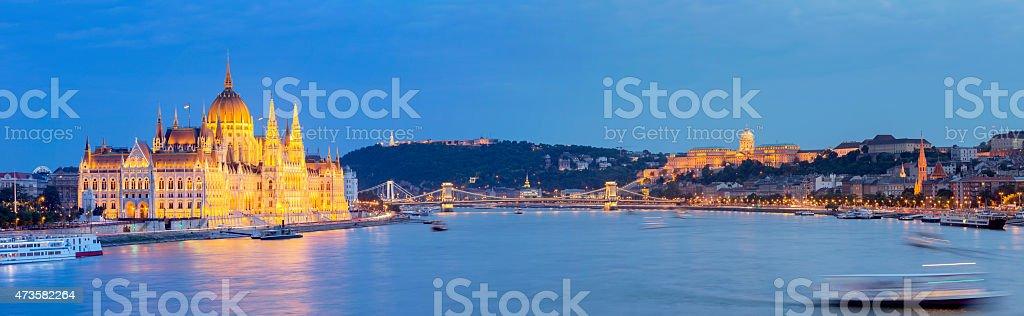 Budapest cityscape with Hungarian Parliament Chain Bridge Elizabeth Bridge Citadella stock photo