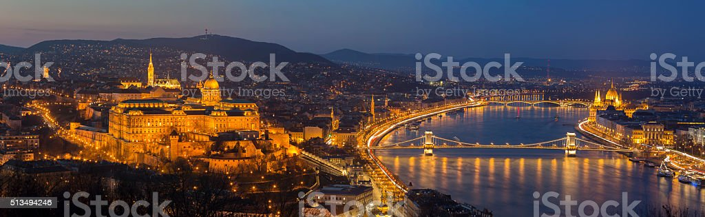 Budapest cityscape with Matthias Church, Chain Bridge and Parliament stock photo