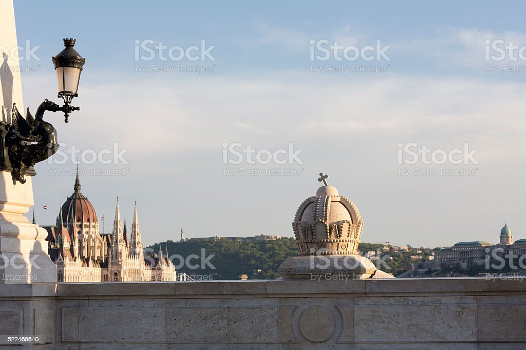 Budapest cityscape with Saint Stephen's Crown in the foreground stock photo