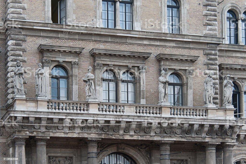 Budapest Corvinus university north facade statues stock photo