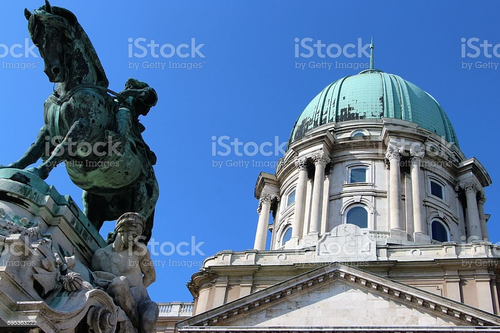 budapest - coupola and statue stock photo