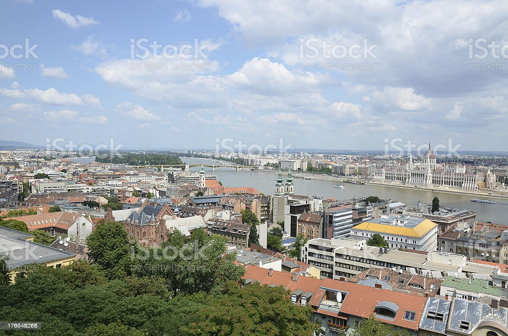 Budapest Danube, Margaret island and Parliament stock photo