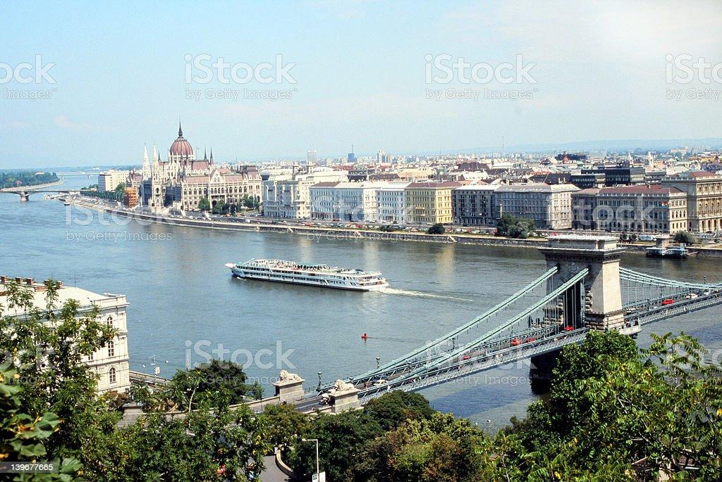 Budapest Danube View of Chain Bridge royalty-free stock photo