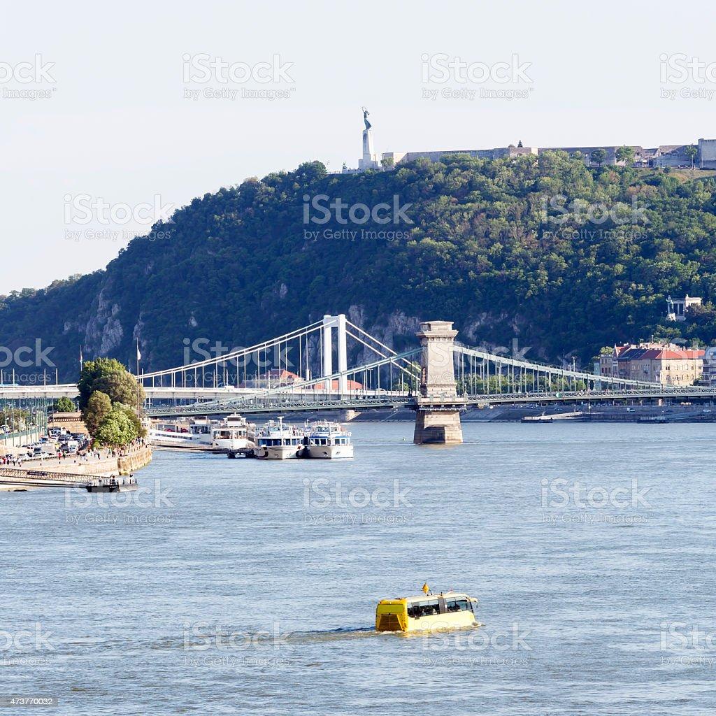 Budapest Danube view with Chain Bridge, Elizabeth Bridge and Citadella stock photo