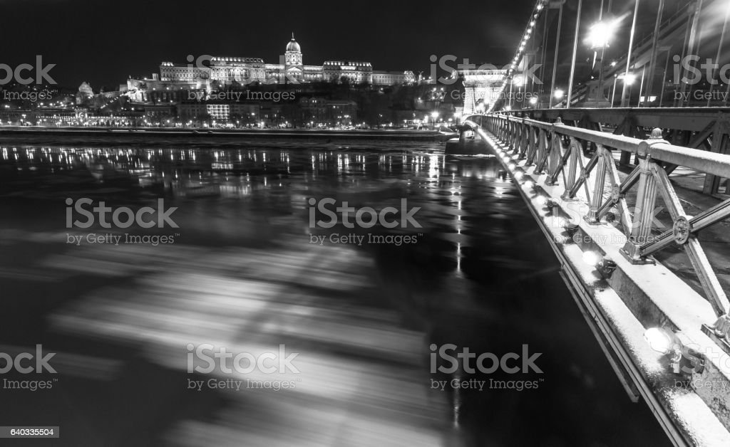 Budapest during the night stock photo