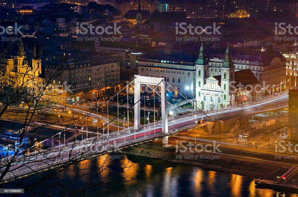 Budapest Elizabeth Bridge at night stock photo