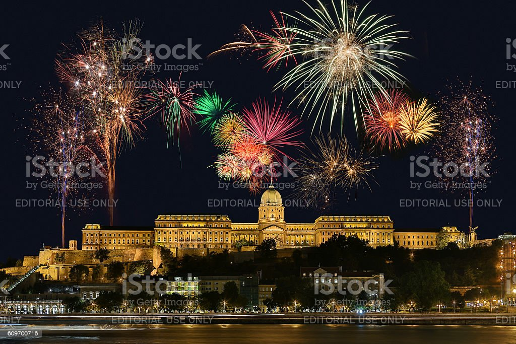 Budapest Firework Display - Hungary stock photo