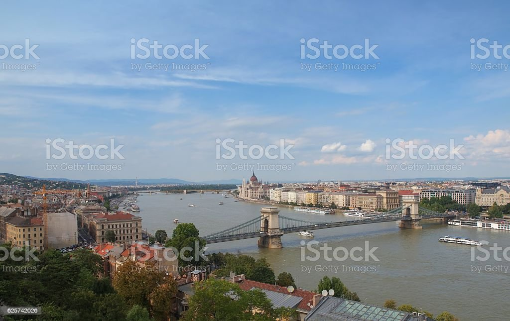 Budapest high view with Szechenyi Chain Bridge and Danube river stock photo