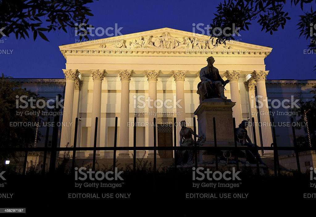 Budapest Hungarian National Museum by night stock photo