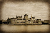 Budapest – Hungarian Parliament – old postcard effect