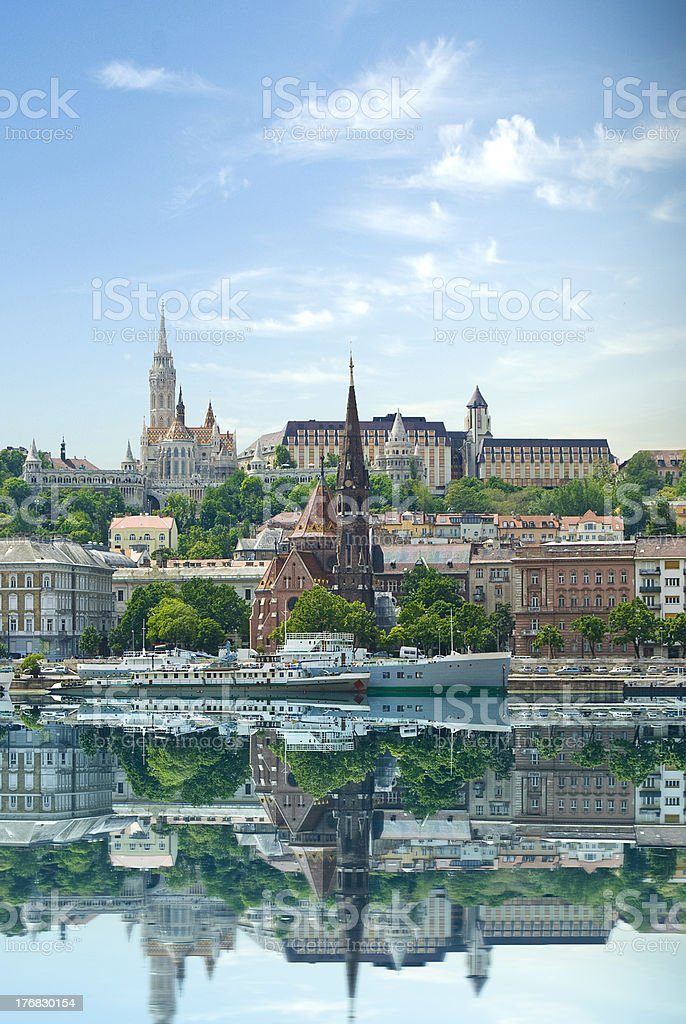 Budapest, Hungary buildings reflecting on Danube stock photo