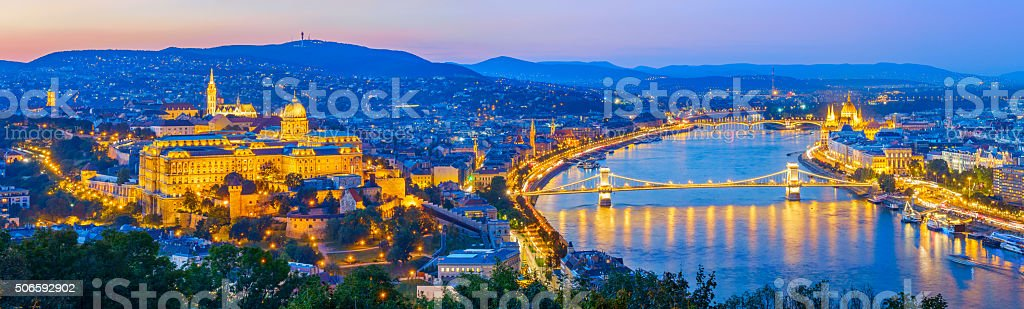 Budapest Hungary Cityscape at Twilight stock photo