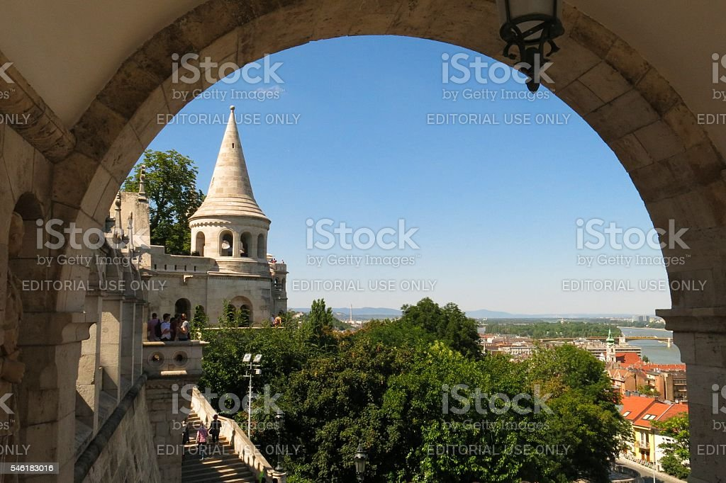 Budapest, Hungary Fisherman's Bastion view through arch stock photo