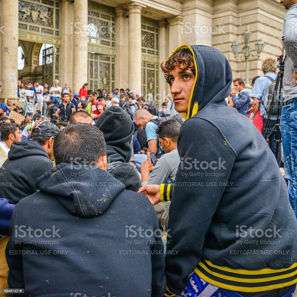 Budapest, Hungary. Keleti railway station Refugees stock photo