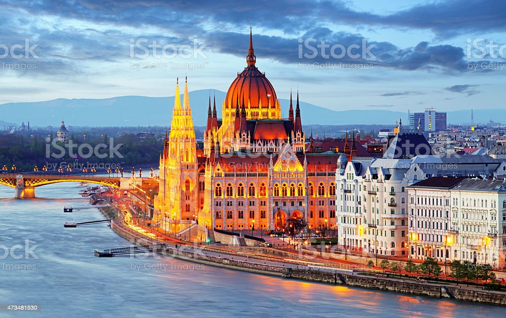 Budapest, Hungary parliament at night stock photo