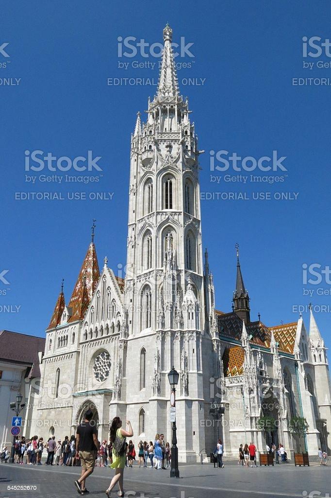Budapest, Hungary tourists outside Matthias Church sunny day stock photo