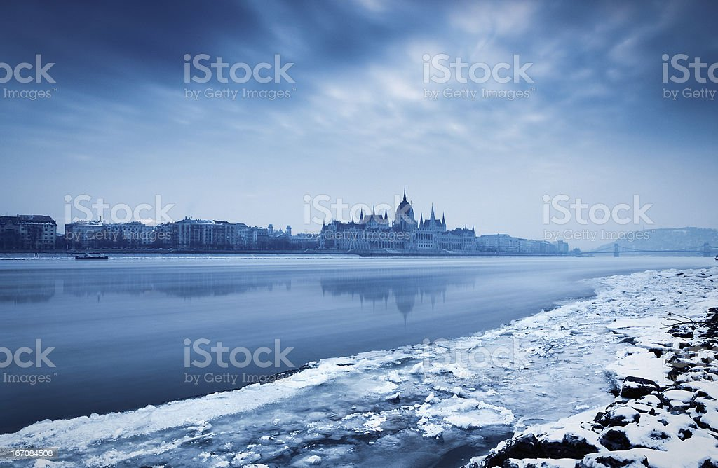 Budapest in the winter royalty-free stock photo