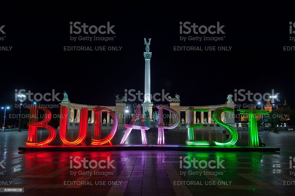 Budapest letters on Heroes' Square stock photo