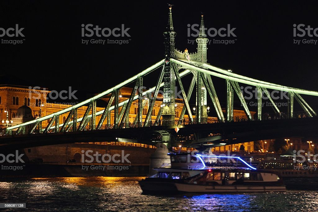 budapest - liberty chain and boat stock photo