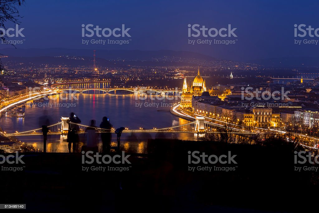 Budapest lookout point. Chain Bridge and Parliament stock photo