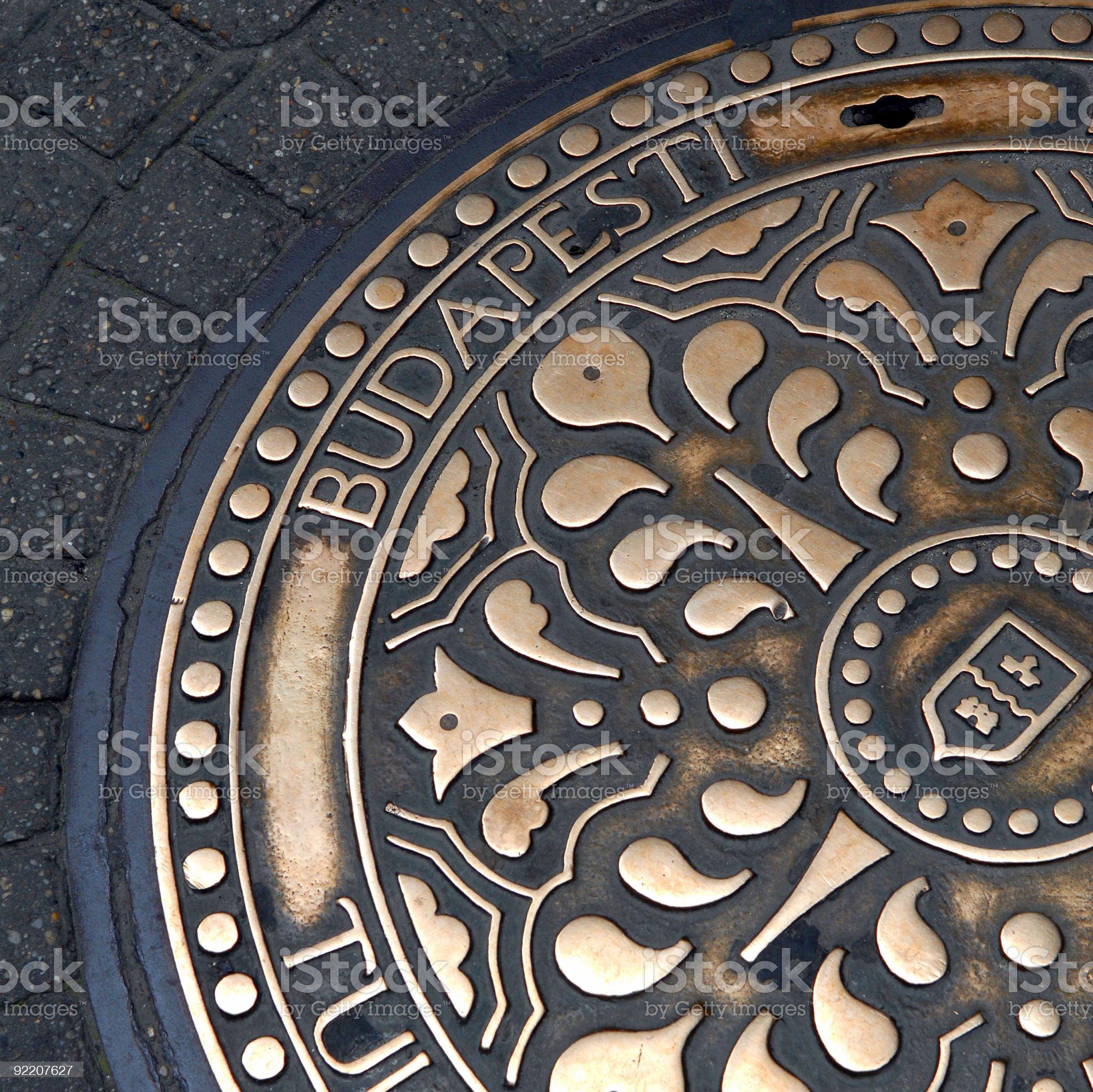 Budapest manhole royalty-free stock photo
