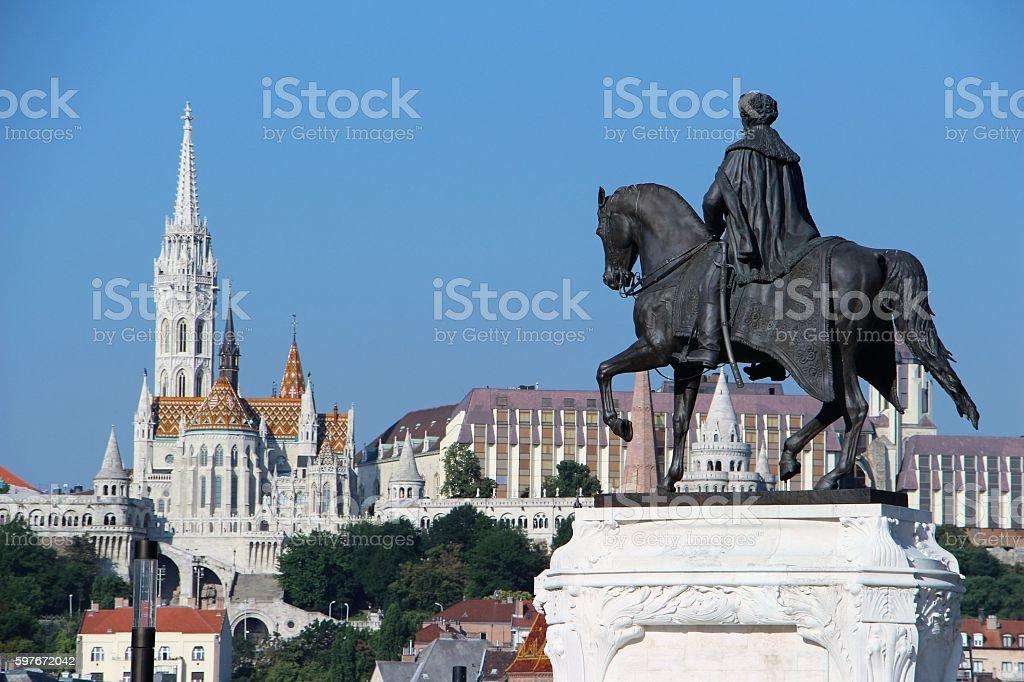 budapest - mathias church and statue stock photo