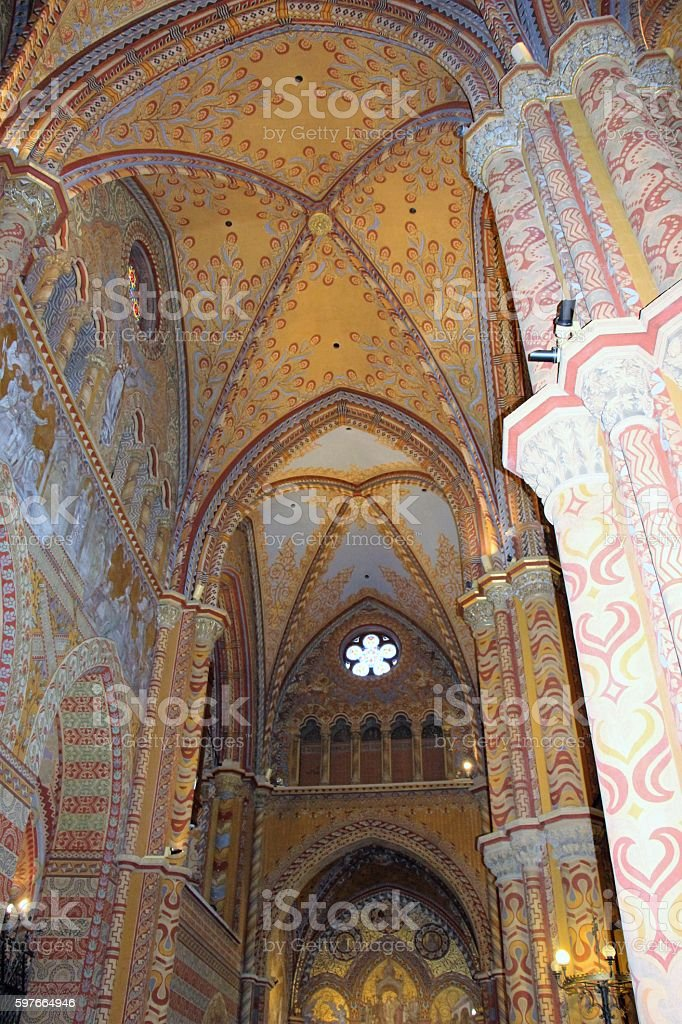 budapest - mathias church ( inside) stock photo