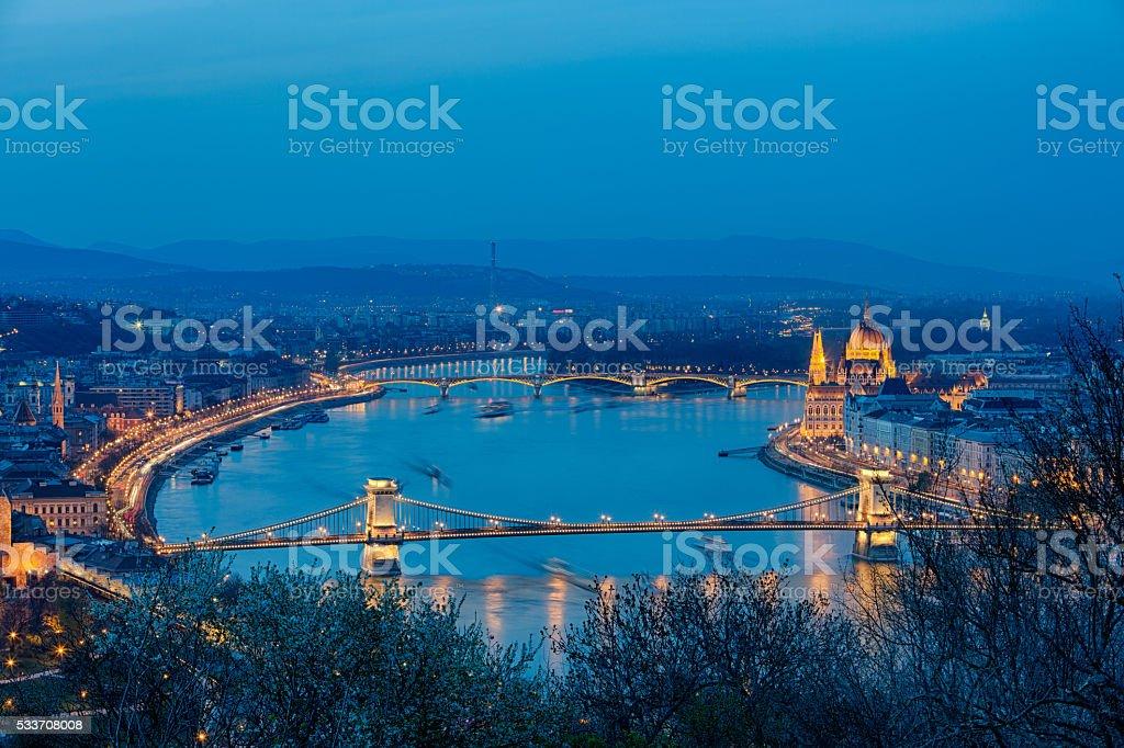 Budapest night, Chain Bridge, hungarian parliament. Danube River at dusk stock photo