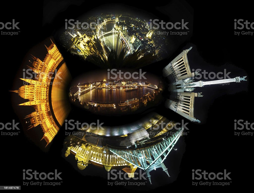 Budapest night collage royalty-free stock photo