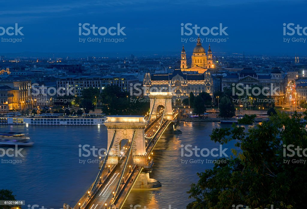 Budapest night top view stock photo
