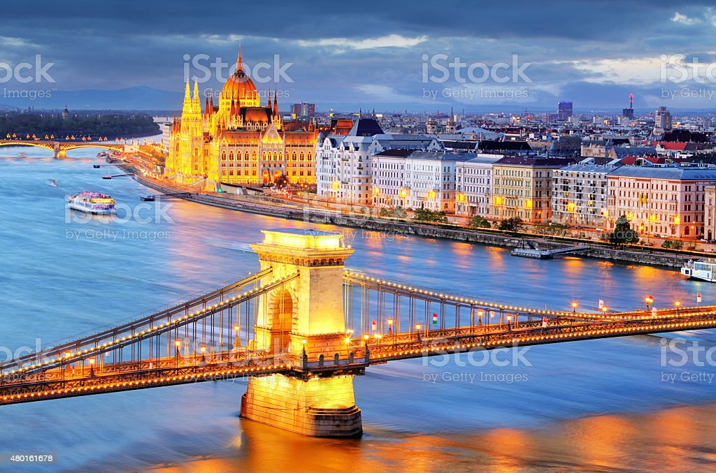 Budapest, night view of Chain Bridge on the Danube river. stock photo