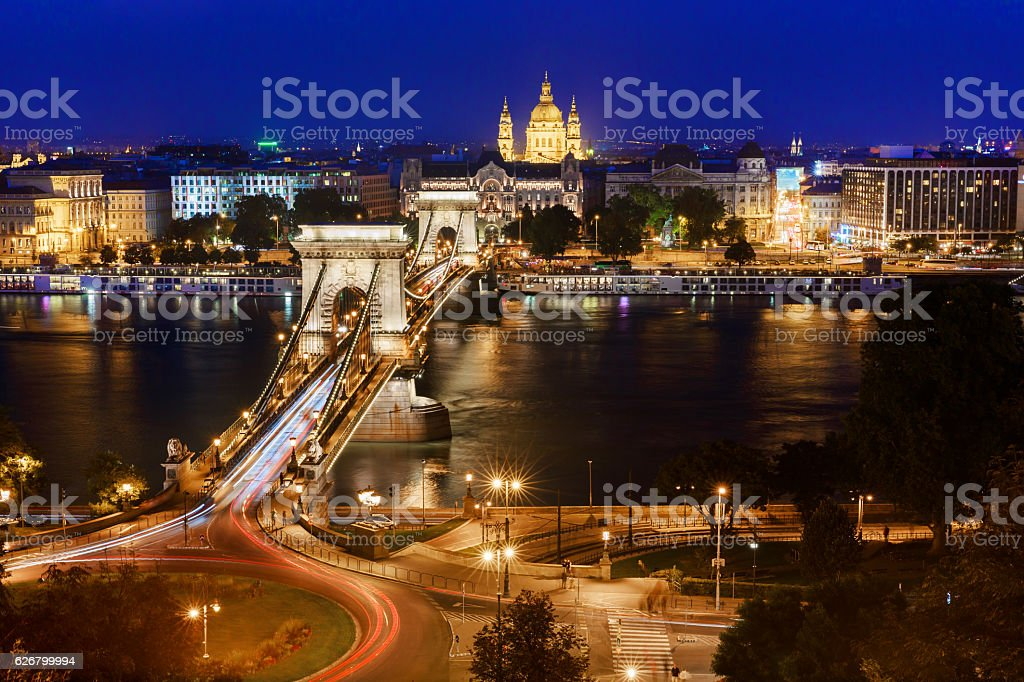 Budapest. Night view over the Danube and the Chain Bridge stock photo