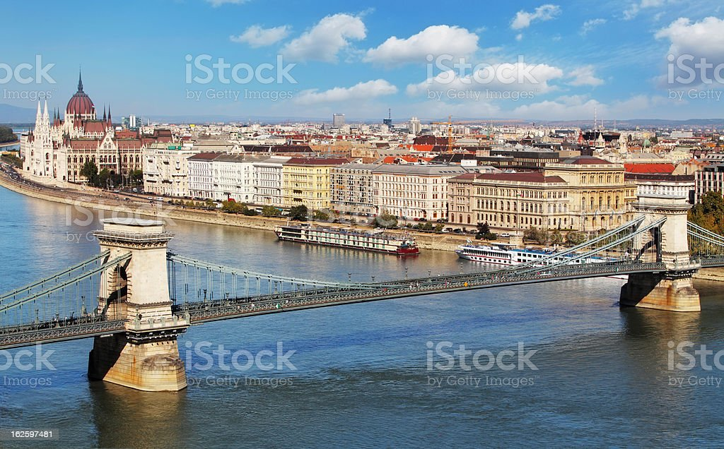Budapest - panorama from castle, Hungary royalty-free stock photo