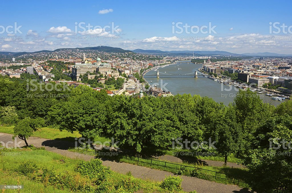 Budapest Panoramic view from The Gellert Hill with Danube river stock photo