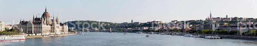 Budapest panoramic with Hungarian Parliament Chain Bridge Citadella Matthias Church stock photo