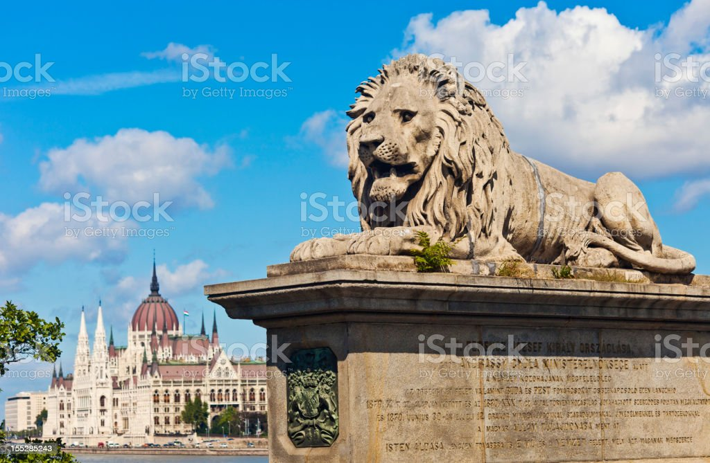 Budapest Parliament And Bridge royalty-free stock photo