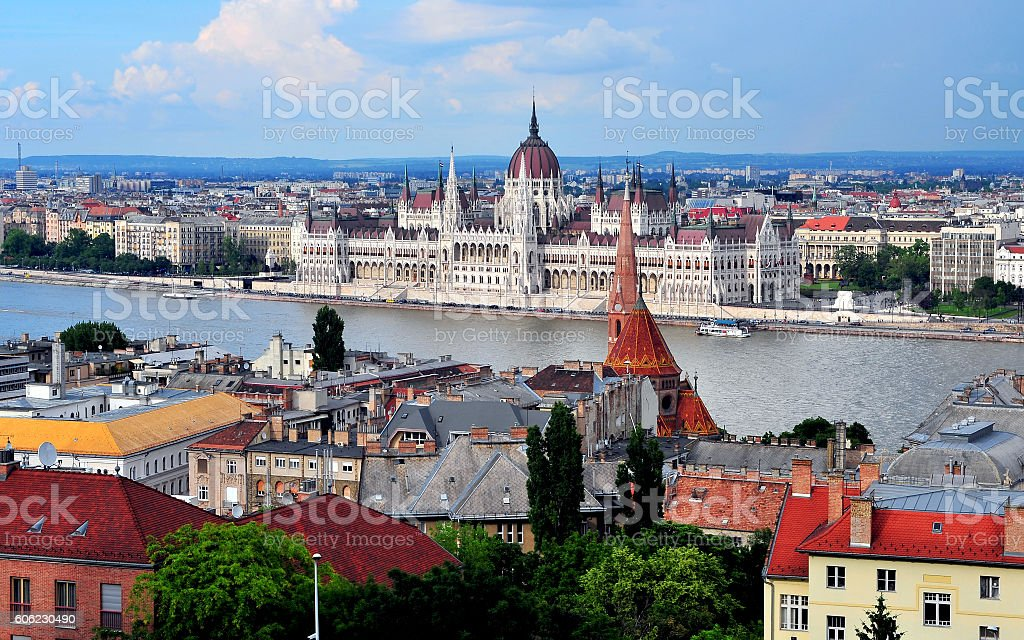 Budapest parliament and cityscape stock photo