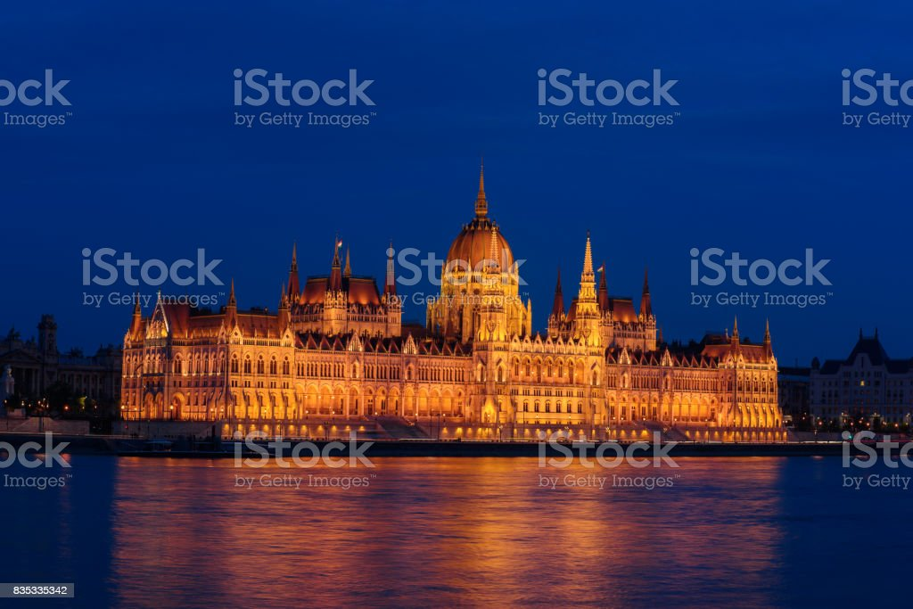 Budapest Parliament and river stock photo
