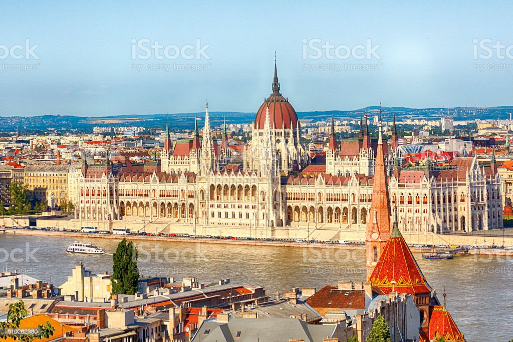 Budapest Parliament Building with Danube River stock photo