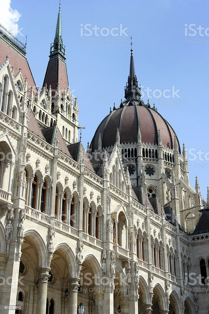 Budapest Parliament, details of front royalty-free stock photo