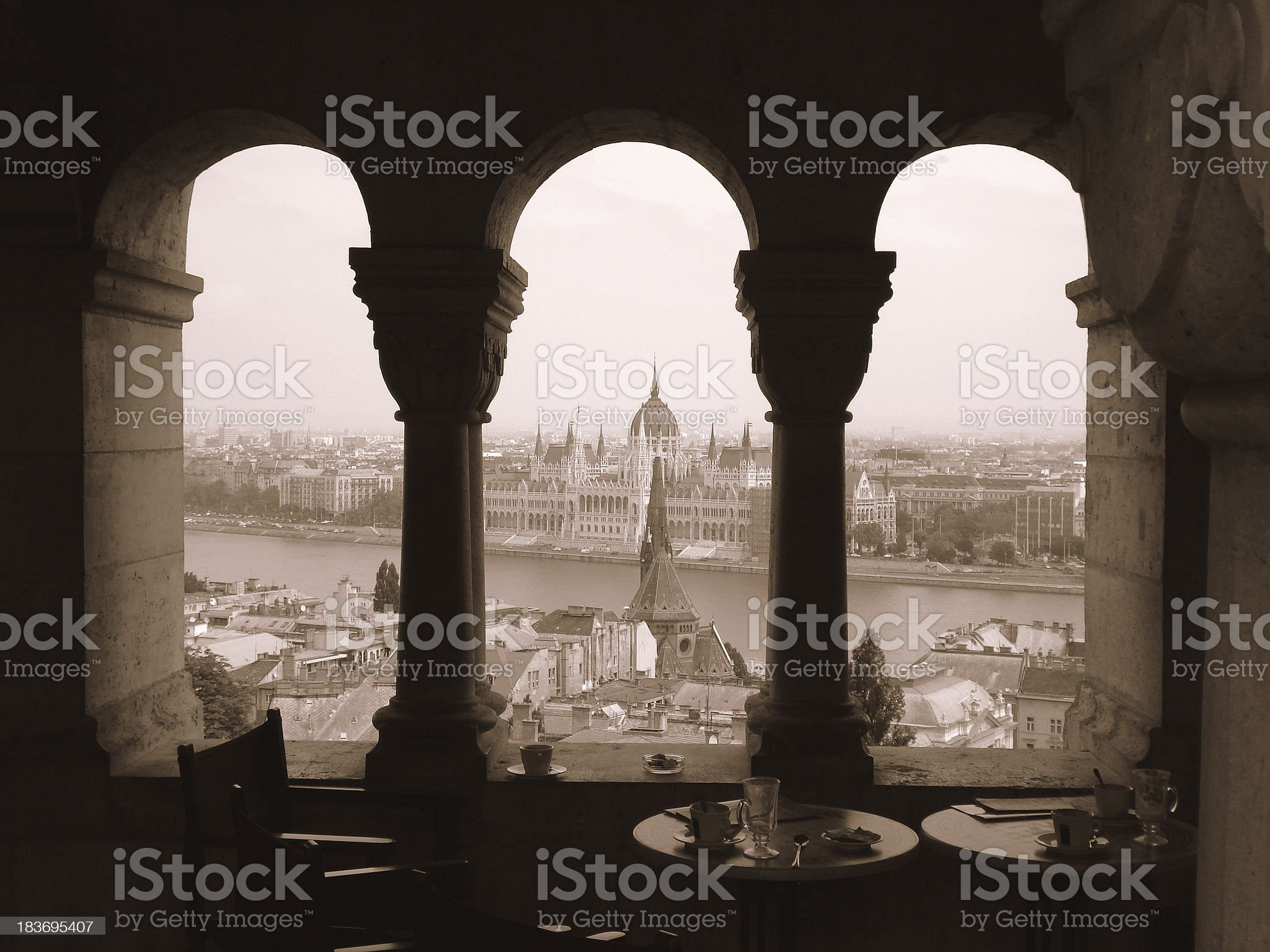 Budapest Parliament from Buda Castle royalty-free stock photo