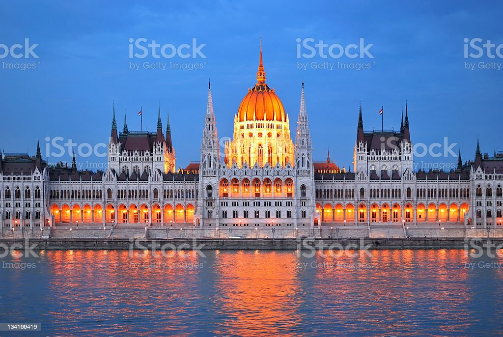 Budapest. Parliament House at twilight royalty-free stock photo