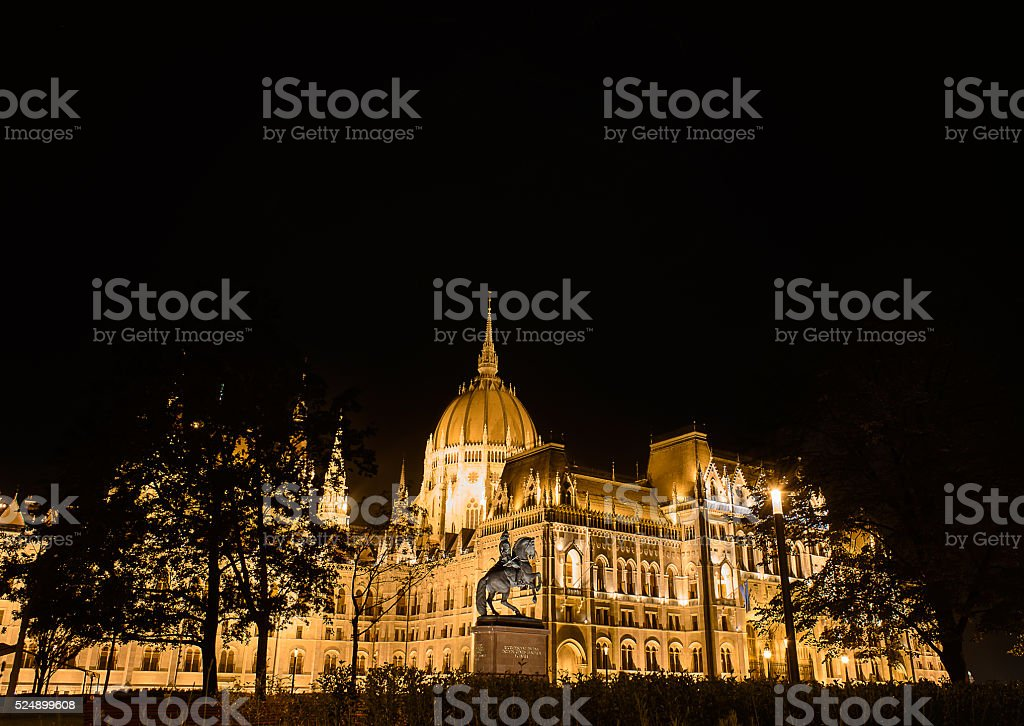 budapest parliament in the night stock photo